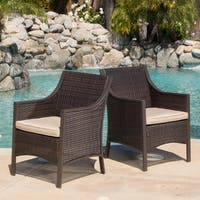 Riga Outdoor Wicker Dining Chair with Cushion (Set of 2) by Christopher Knight Home