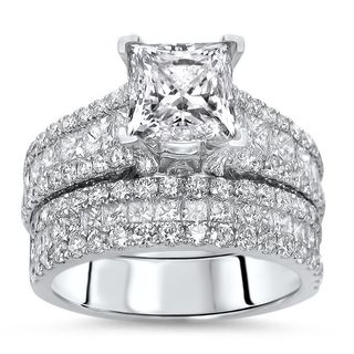 Noori 14k White Gold 3 7/8ct TDW Enhanced Princess-cut Diamond 2-piece Bridal Set (F-G, SI1-SI2)