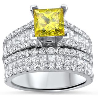 Noori 14k White Gold 3 5/8ct TDW Canary Yellow Princess-cut Diamond 2-piece Bridal Set (F-G, SI1-SI2)