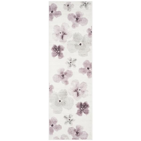 Safavieh Adirondack Floral Watercolor Ivory / Purple Rug - 2'6 x 8'