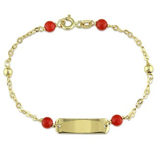 Miadora 18k Yellow Gold Red Onyx ID Bracelet