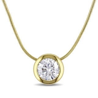 Miadora Signature Collection 14k Yellow Gold 3/4ct TDW Bezel-set Diamond Solitaire Circle Necklace (F-G, I1-I2)