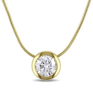 Miadora Signature Collection 14k Yellow Gold 3/4ct TDW Bezel-set Diamond Solitaire Circle Necklace