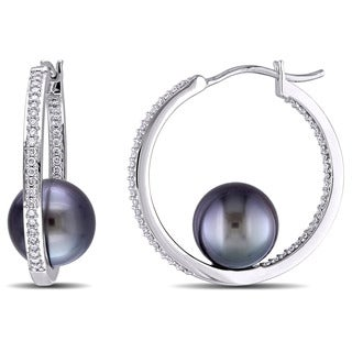 Miadora Signature Collection 14k White Gold Tahitian Pearl and 1/2ct TDW Diamond Inside Outside Hoop Earrings (G-H, SI1-SI2)