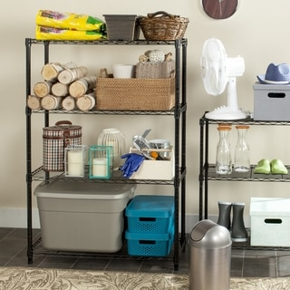 Safavieh Happimess Bravo 4-tier Heavy Duty Commercial Black Chrome Wire Shelf