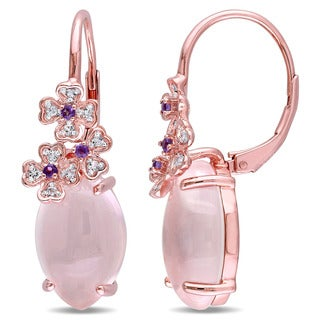 Miadora Rose Plated Sterling Silver Marquise-cut Milky Rose Quartz Amethyst and White Topaz Flower Leverback Earrings