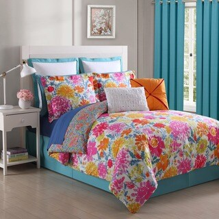 Garden Reversible Floral Comforter Set by Fiesta - Blue/White