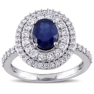 Miadora Signature Collection 14k White Gold Oval-cut Sapphire and 7/8ct TDW Diamond Double Halo Ring