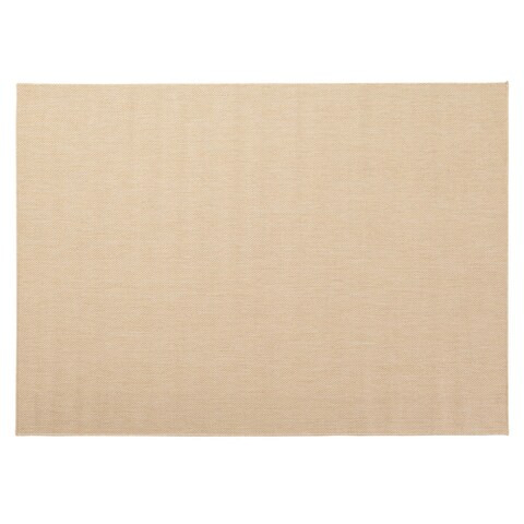 Berrnour Home Summer Collection Natural Cream Solid Design Indoor / Outdoor Jute-backing Runner Rug - 5'3 x 7'3