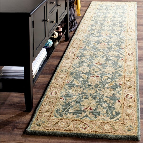 Safavieh Handmade Antiquity Teal Blue/ Taupe Wool Rug - 2' 3 x 8'