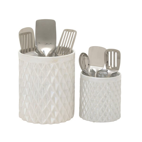 Ceramic kitchen utensil holder set of 2 free shipping today ceramic kitchen utensil holder set of 2 workwithnaturefo