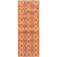 Berrnour Home Summer Collection Diamond Trellis Design Indoor/Outdoor Jute Backing Runner Rug (2'7 x 7')