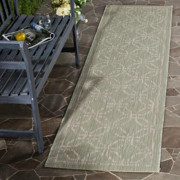 Safavieh Indoor/ Outdoor Courtyard Green/ Grey Rug - 2' 3 x 12'