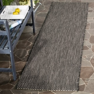 Safavieh Indoor/ Outdoor Courtyard Black/ Beige Rug (2' 3 x 12')