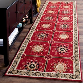 Safavieh Hand-hooked Easy to Care Red/ Natural Rug (2' 6 x 10')