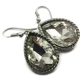 Mama Designs Handmade Sterling Silver Clear Crystal Drop Earrings