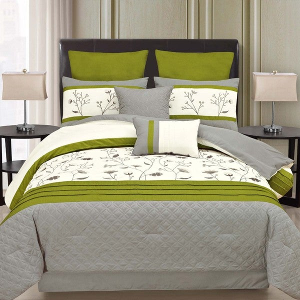 Joy 8-piece Comforter Set with Embroidered Floral Design Accented by Color Block