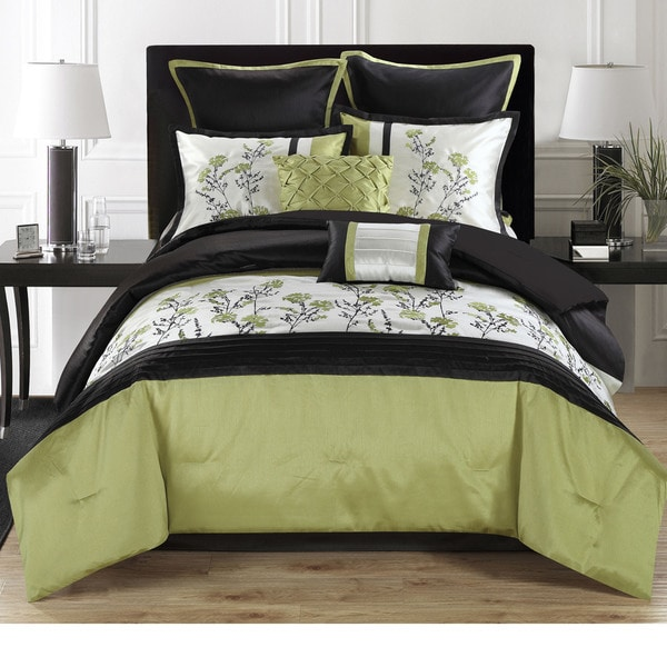 Wild Flower 8-piece Floral and Color Block Comforter Set