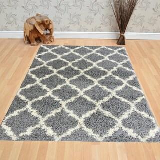 Berrnour Home Trellis Plush Shag Area Rug (7'10 x 9'10)