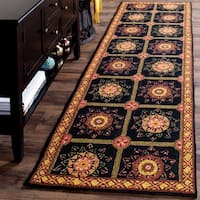 Safavieh Hand-hooked Easy to Care Black/ Yellow Rug (2' 6 x 8')