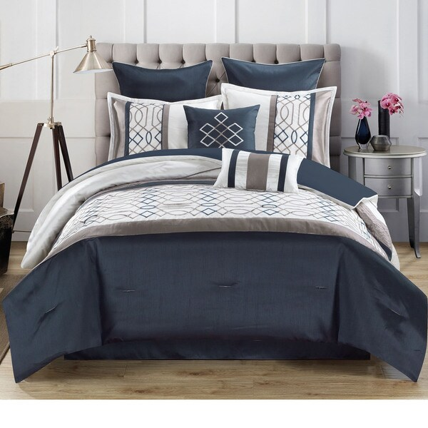 Tempo 8-piece Geometric and Color Block Patterned Comforter Set