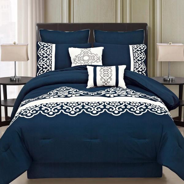 Symphony Royal Blue 8-piece Comforter Set
