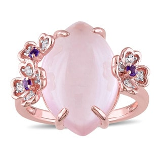Miadora Rose Plated Sterling Silver Marquise-cut Milky Rose Quartz Amethyst and White Topaz Flower Cocktail Ring