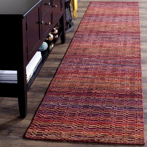 Safavieh Handmade Himalaya Red/ Multicolored Wool Stripe Runner Rug (2'3 x 6') - 2'3 x 6'
