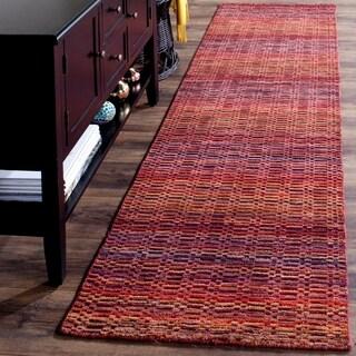 Safavieh Handmade Himalaya Red/ Multicolored Wool Stripe Runner Rug (2'3 x 8')