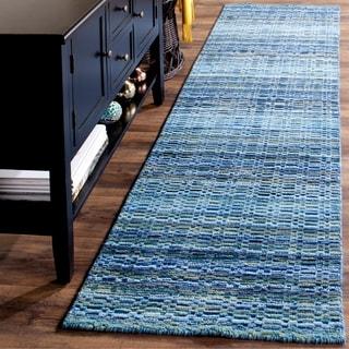 Safavieh Handmade Himalaya Blue/ Multicolored Wool Stripe Runner Rug (2'3 x 12')