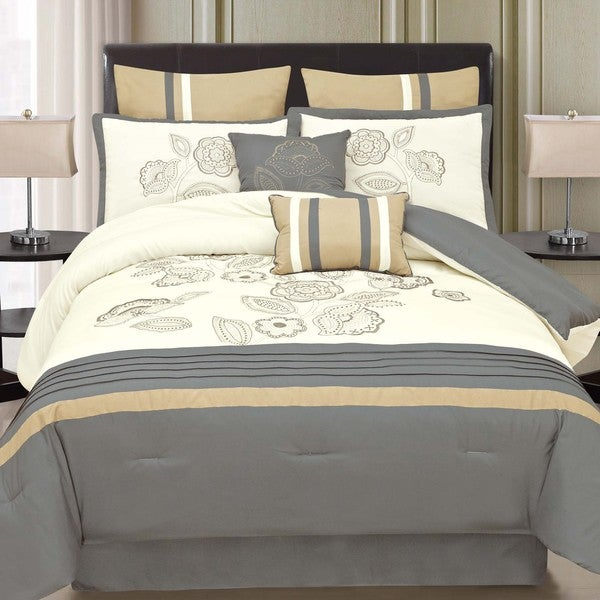 Harmony Neutral Toned 8-piece Comforter Set with Floral and Color Block Pattern