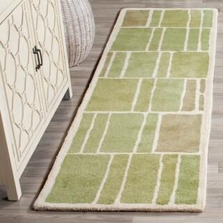 Martha Stewart by Safavieh Blocks Green/ Ivory Wool Rug (2' 3 x 8')