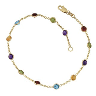 Fremada 14k Yellow Gold Multi Semi-precious Stones Station Anklet (9 or 10 inches)