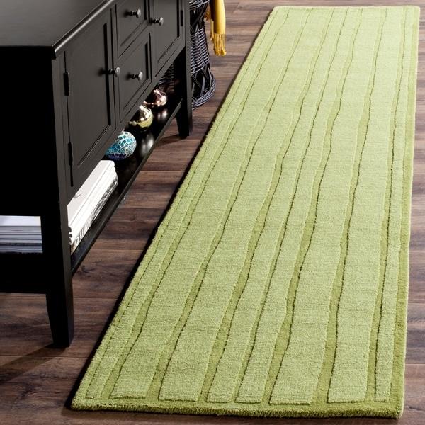 "Martha Stewart by Safavieh Freehand Stripe Mossy Rock Wool Rug - 2'3"" x 8'"