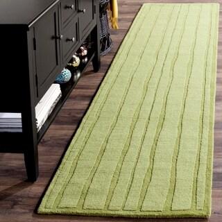 Martha Stewart by Safavieh Freehand Stripe Mossy Rock Wool Rug (2' 3 x 8')