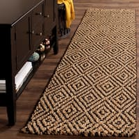 Safavieh Casual Natural Fiber Hand-Woven Natural / Black Jute Rug - 2' 3 x 8'