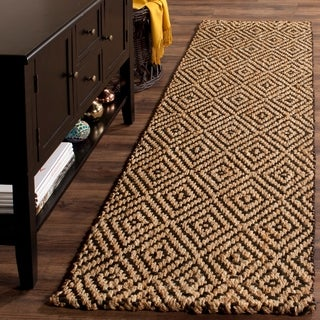 "Safavieh Handmade Natural Fiber Diamond Geo Natural/ Black Jute Rug - 2'3"" x 8'"