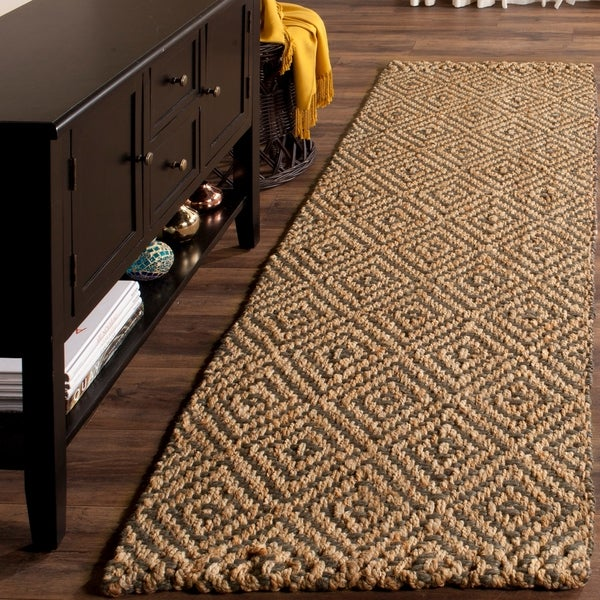 Safavieh Casual Natural Fiber Hand-Woven Natural / Grey Jute Rug - 2' 3 x 8'