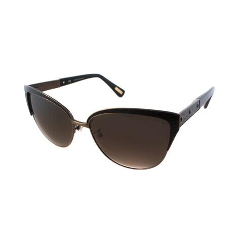 Lanvin SLN 036N 0448 Copper And Black Leather Metal Grey Gradient Lens Cat Eye Sunglasses