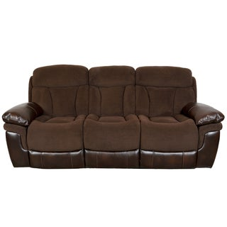 Porter Buck Chocolate Microfiber and Faux Leather Dual Reclining Sofa
