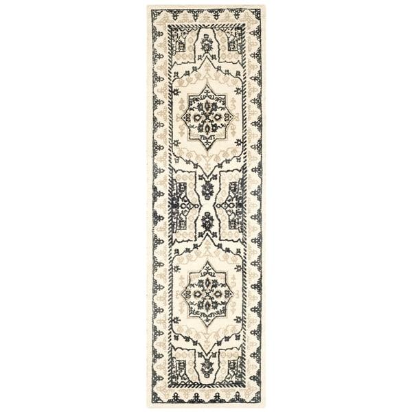 Safavieh Handmade Restoration Vintage Ivory / Charcoal Wool Rug (2' 3 x 8')