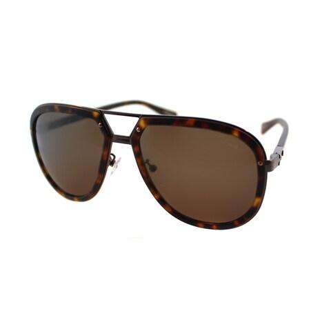 Lanvin SLN 044 0448 Matte Havana And Antiqued Bronze Plastic Brown Lens Aviator Sunglasses