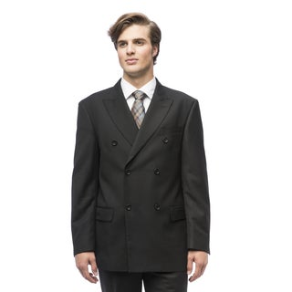 Men's Charcoal Black Polyester/Viscose Double-breasted Suit