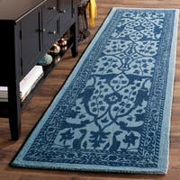Safavieh Handmade Restoration Vintage Blue/ Dark Blue Wool Rug - 2' 3 x 8'