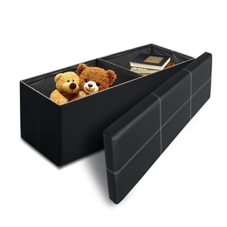 Line Design Black Memory Foam Folding Ottoman - Crown Comfort