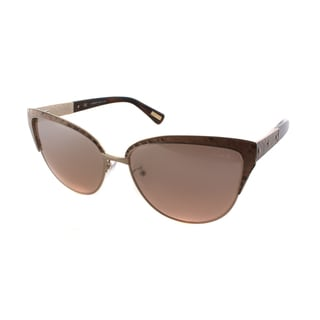 Lanvin SLN 036N 8FEX Gold And Peach Leather Metal Rose Gradient Lens Cat Eye Sunglasses
