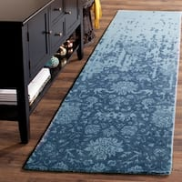 Safavieh Handmade Restoration Vintage Blue/ Dark Blue Wool Distressed Rug - 2' 3 x 8'