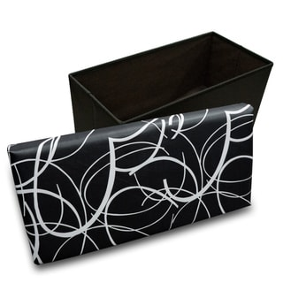 Crown Comfort's White Swirl on Black Memory Foam Rectangular Ottoman