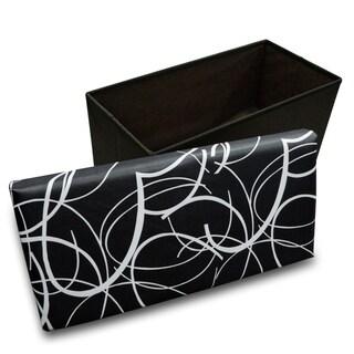 Crown Comfort's White Swirl on Black Memory Foam Rectangular Ottoman