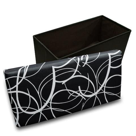 White Swirl on Black Memory Foam Rectangular Ottoman - Crown Comfort